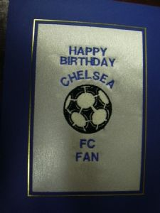 PERSONALISED EMBROIDERED CHELSEA FC CARD - FOOTBALL